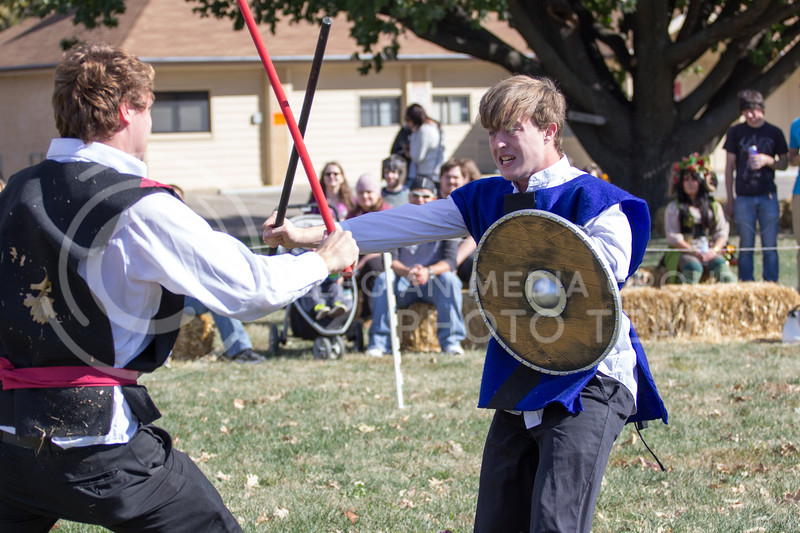 Brennan Flanagan, and Nate Kochuyt Fight it out after a Joust battle at the Little Apple Renaissance Fair on the 29th October, 2017 (Alex Shaw | Collegian Media Group)