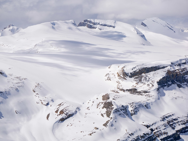 Telephoto view of part of the Wapta Icefield above Bow Hut.