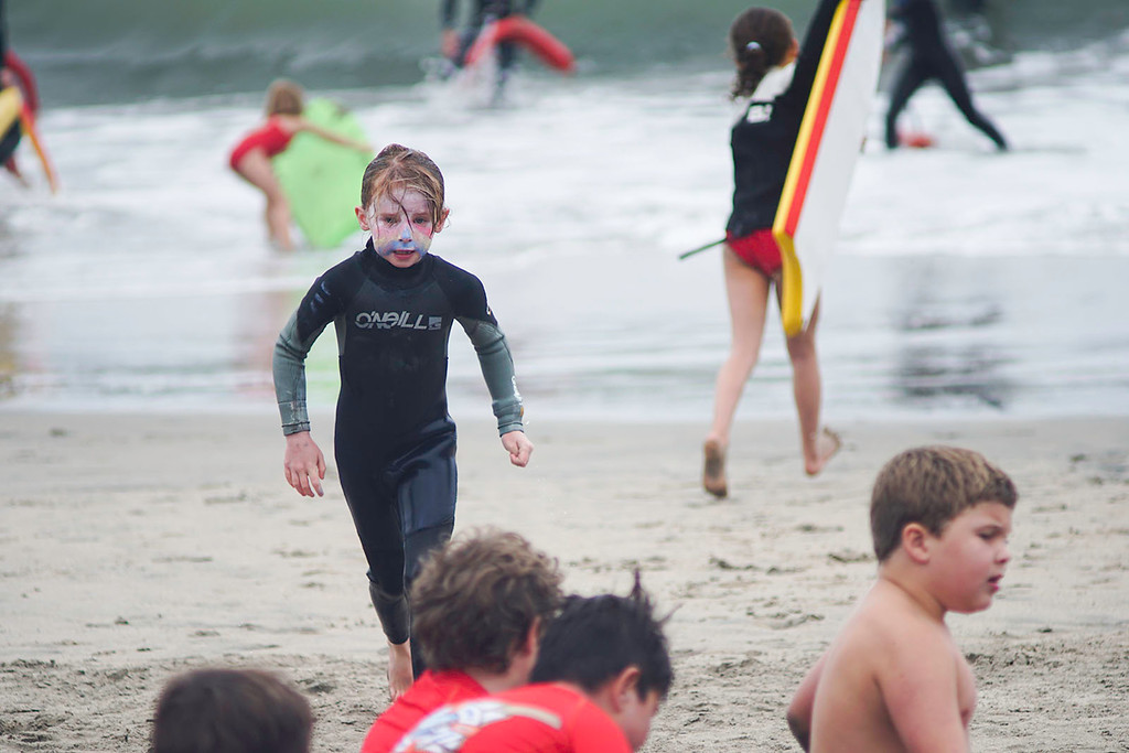 . Little Guards competition at Main Beach in Santa Cruz on Wednesday June 27, 2018. Athletes, ages 6-8 from Manresa, Seacliff, Twin Lakes and the cities of Santa Cruz and Capitola competed. Junior Guards, ages 9-17 will compete on Thursday. (Marcello Hutchinson-Trujillo -- Santa Cruz Sentinel)