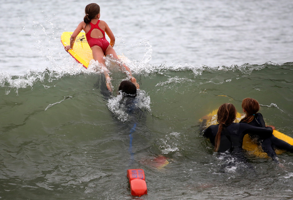 . Little Guards competition at Main Beach in Santa Cruz on Wednesday June 27, 2018. Athletes, ages 6-8 from Manresa, Seacliff, Twin Lakes and the cities of Santa Cruz and Capitola competed. Junior Guards, ages 9-17 will compete on Thursday. (Shmuel Thaler -- Santa Cruz Sentinel)