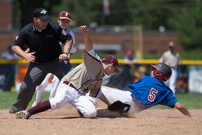Wallingford's Justin Hackett beats the tag into second Saturday during the Little League District 5 Championship at Recreation Park in Southington  Jul. 15, 2017 | Justin Weekes / For the Record-Journal