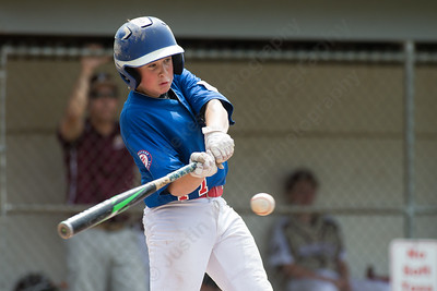 Wallingford's John Cady gets a hit driving in another run Saturday during the Little League District 5 Championship at Recreation Park in Southington  Jul. 15, 2017 | Justin Weekes / For the Record-Journal