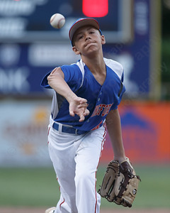 Wallingford's Zach Ginter warms up Wednesday at Peter J. Foley Little League Park in Naugatuck July 18, 2018 | Justin Weekes / Special to the Record-Journal