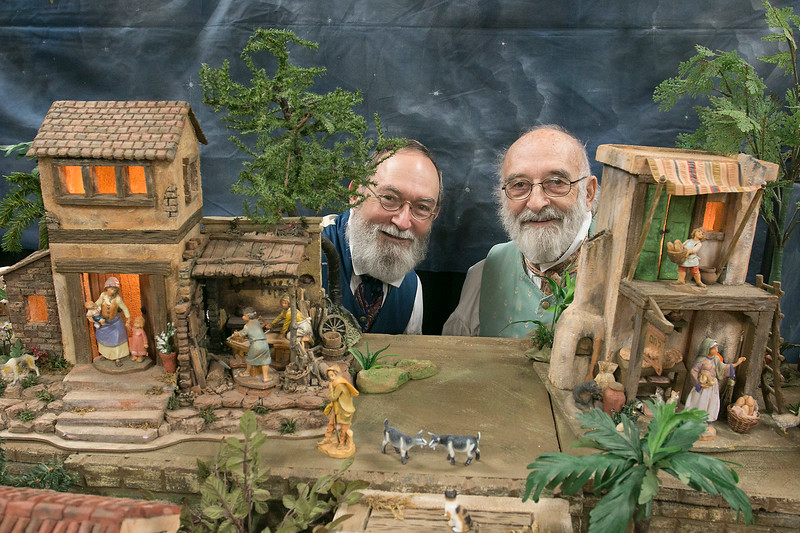 Thomas Casey Hopkins, on right, and Darrel Hopkins of Westminster have brought their Little Town of Bethlehem to the Fitchburug Senior Center for the second year. SENTINEL & ENTERPRISE/JOHN LOVE