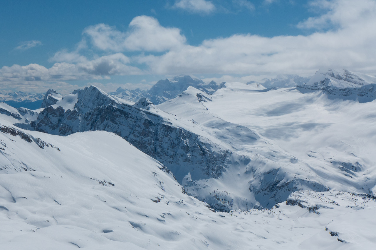 A  closer view of the sea of peaks and glaciers.