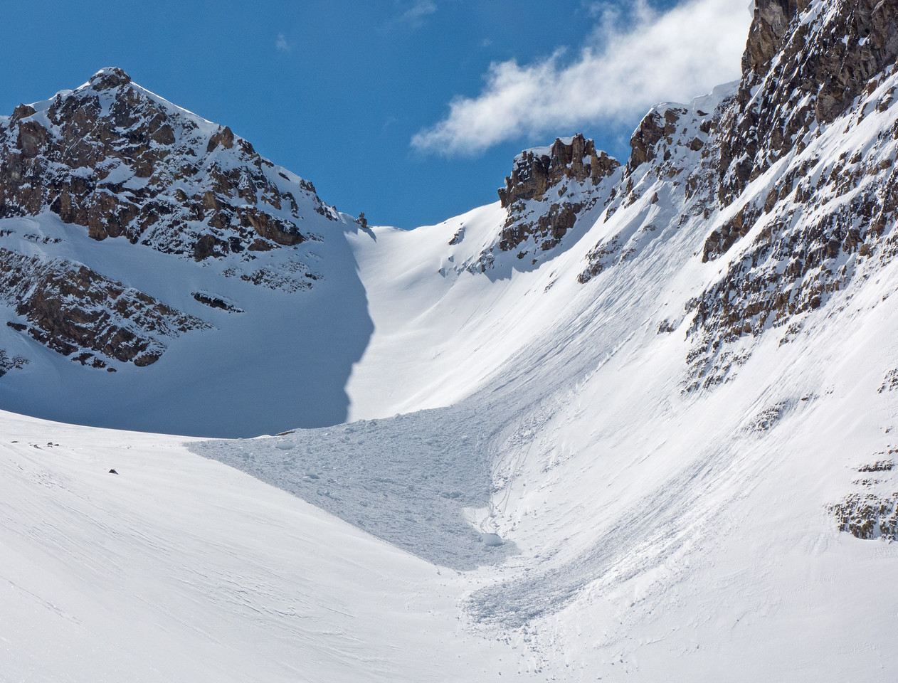 A very fresh cornice fall induced avalanche. Those things getting  big, and ripe!
