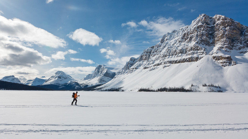 Underway across a well frozen Bow Lake, on a great start to a backcountry ski tour of Little Crowfoot peak.