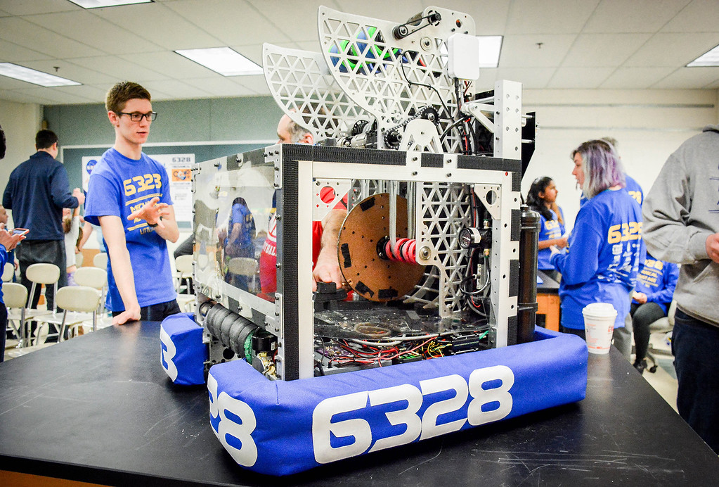 . Stand alone photo of the robot that was built by Team 6328 Mechanical Advantage from Littleton. It took the team roughly 6 weeks to build the robot for their competitions in March. SUN/Caley McGuane