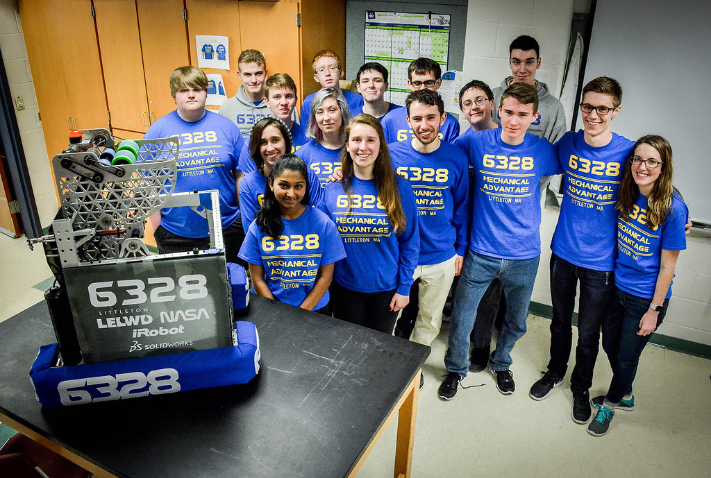 . Group photo of Team 6328 Mechanical Advantage from Littleton. It took the team roughly 6 weeks to build their robot for the competitions that they\'ll be competing in, in March. SUN/Caley McGuane
