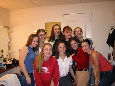 Cast photo (girls only; in the dressing room at the PAC).