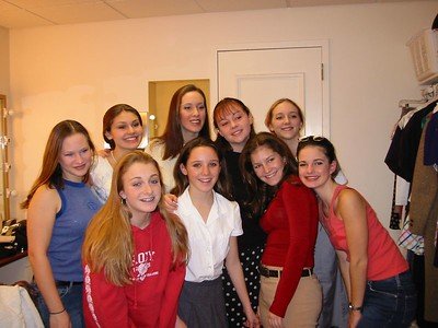 Cast photo (girls only; in the dressing room at the PAC)