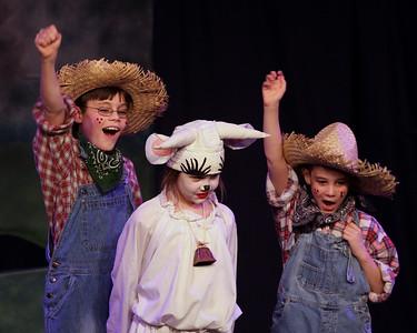 Jack & the Beanstalk, 19 February 2010: Kay Horak as Milky White, and Bjorn Christensen & Garrett Collins as Farmers.