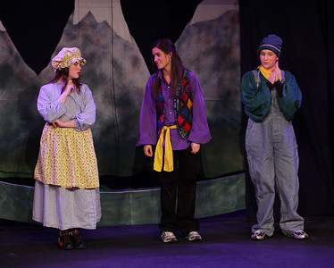 Jack & the Beanstalk, 19 February 2010: Olivia Russell as Mother, Lauren Romano as Magic, and Donna Wilcox as Jack.