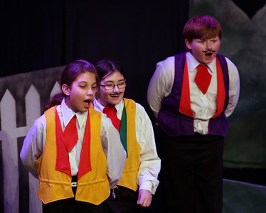Jack & the Beanstalk, 19 February 2010: Chloe Gaget, Kayla Pepe, and Liam Somers as Merchants.