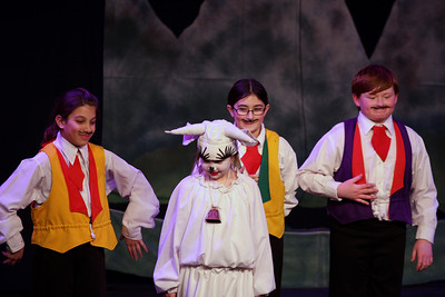 Jack & the Beanstalk, 19 February 2010: Chloe Gaget, Kayla Pepe, and Liam Somers as Merchants, & Kay Horak as Milky White.