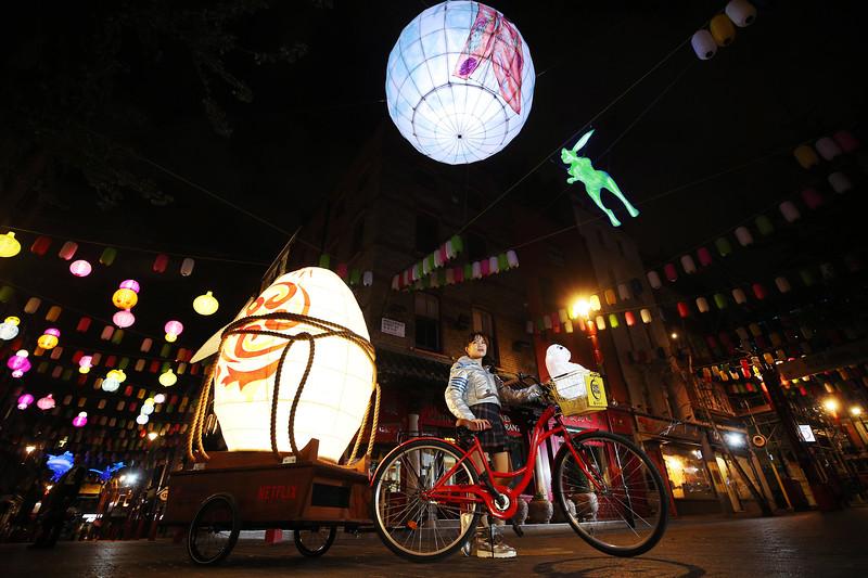 Lantern installation in London Chinatown