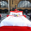 Giant bed at Kings Cross Station, London, UK, 24th August 2017