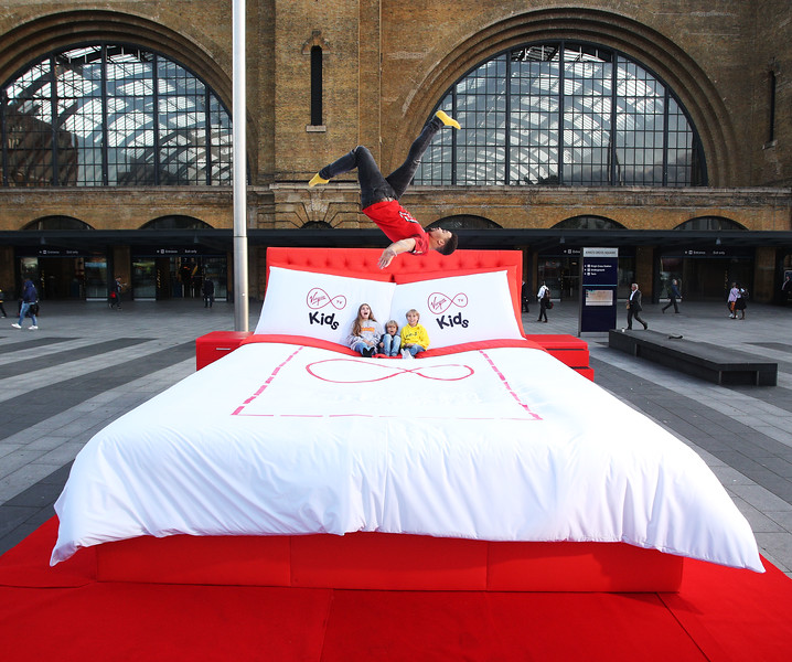 Virgin Bed outside Kings Cross Station, London, UK, 24th August 2017