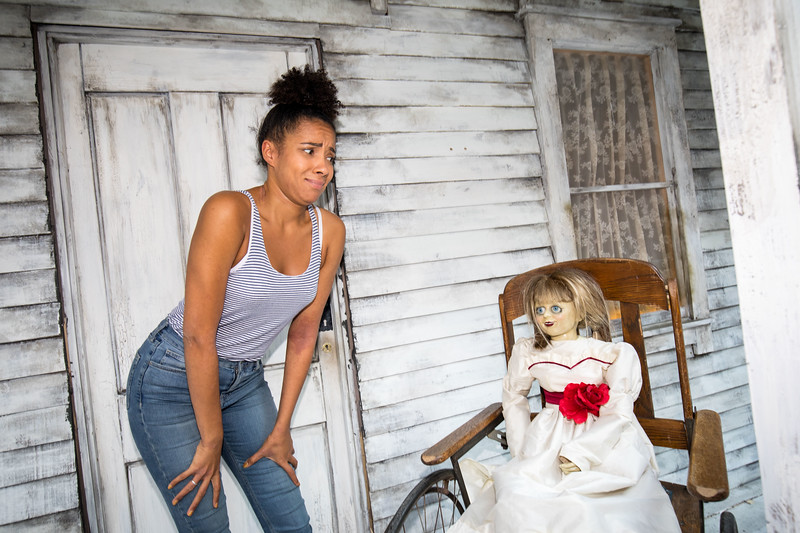 Celebrities get dolled up for a night of fright at the Annabelle: Creation haunted house experience in Stratford, London, UK  - 25 Jul 2017. The experience marks the cinema release of Annabelle: Creation on the 11 August 2017. The experience runs all week for members of the public.