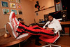 Yxng Bane relaxes before firing up guests at a secret party celebrating Nando's Music Exchange entering its fourth year. The global workshop will take place 4th June - 7th June this year, and welcomes young musicians from Canada, Australia, South Africa and the UK.<br /> <br /> FREE FOR EDITORIAL REPRODUCTION