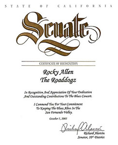 A Certificate of Recognition from the California Senate