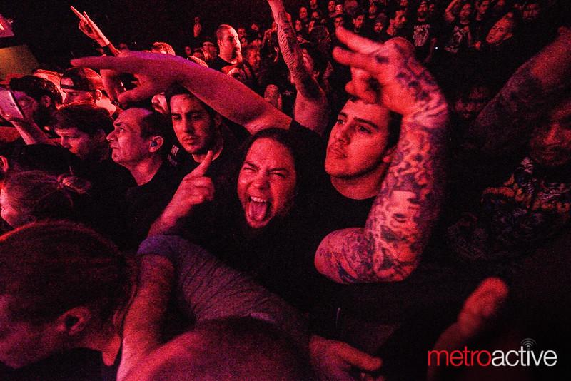 San Jose guitar icon Elton Shawn (tongue out) enjoys the show