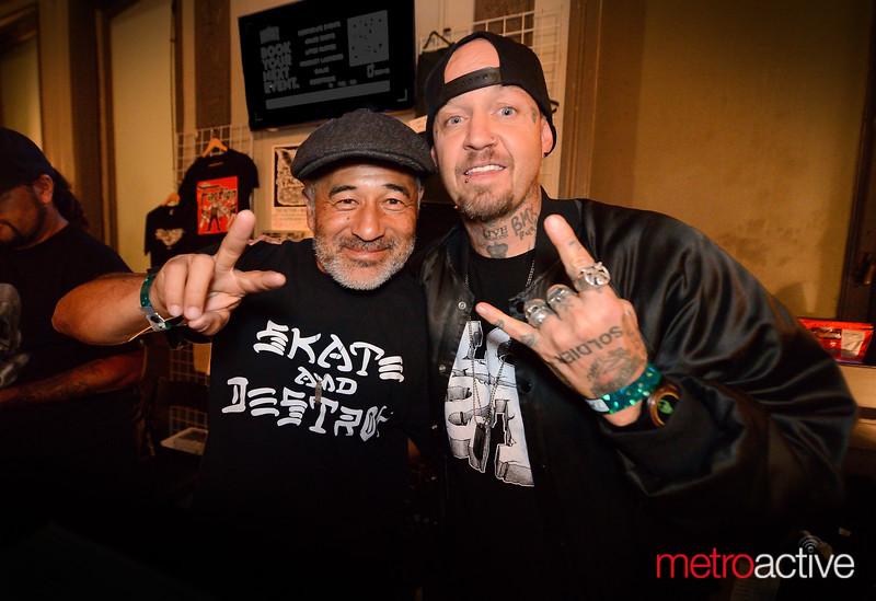 San Jose Skateboarding icon Steve Caballero (L) with a fan