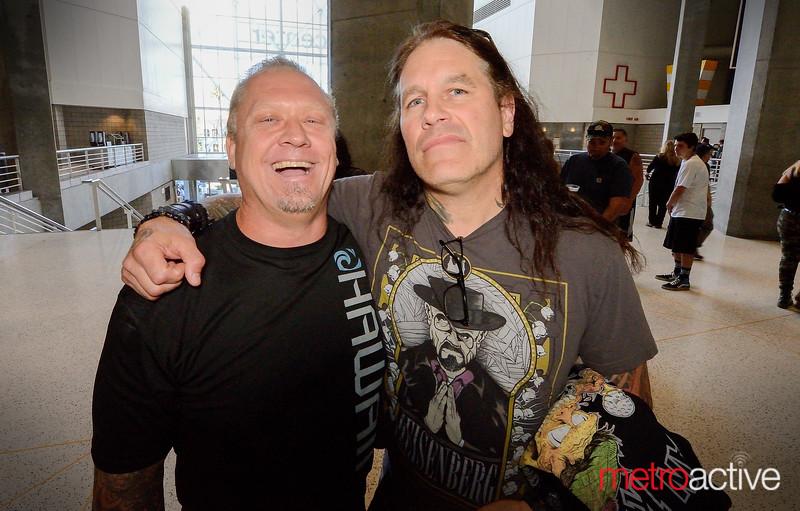 Former Machine Head bassist Adam Duce with current Machine Head guitarist Phil Demmel git'n their Slayer on...