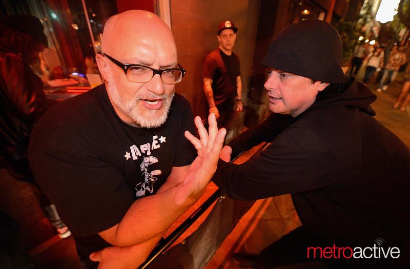 Curtis Meacham (singer of Monkey) with Corey O'Brien, Ritz owner