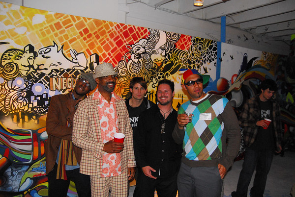 L to R- Artists of XEC Joshua Mays, Mr. MaxxMoses, Owner Zack Hall, Director Jared Brick, Artist Chor Boogie!