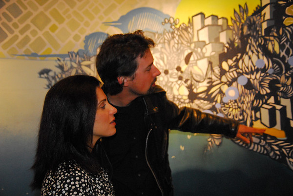 Robert explains the art to a lovely guest, Theresa