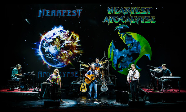 Renaissance soundcheck at NEARfest Apocalypse in June 2012.  Backdrop shows the two different logos for the final NEARfest by two legendary album cover artists, Mark Wilkinson and Roger Dean.