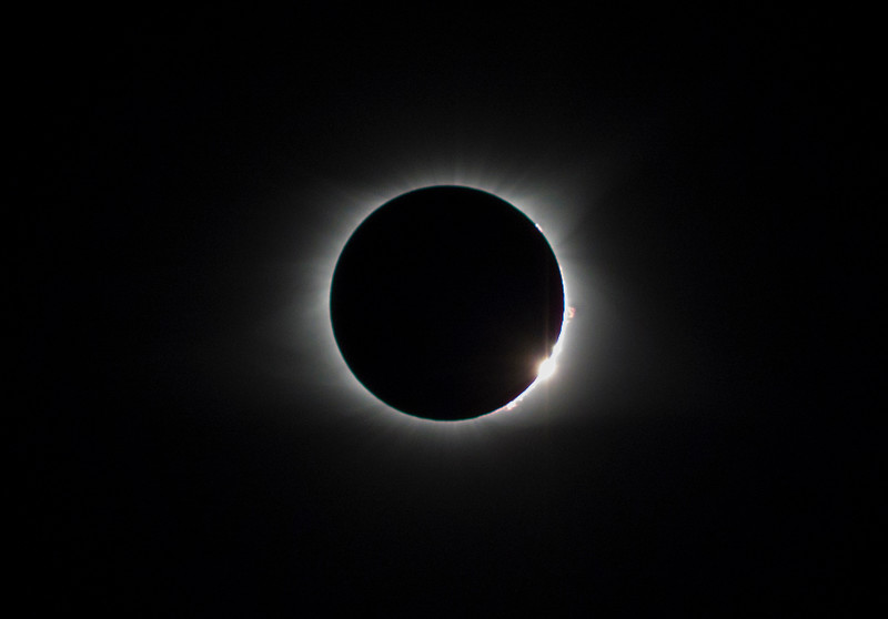 Eclipse with sun flare