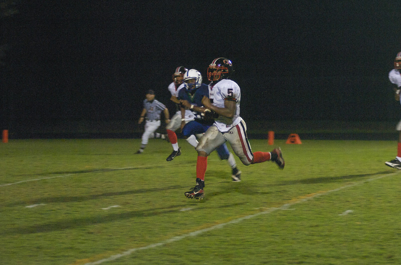 Travis Hawkins #5 adds to his impressive career statistics with this touchdown run early in the season against 4A opponent Churchill.