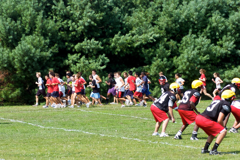 August 15th means opening day for QO'HS sports teams.  Here both the Cross Country Team and Football team share practice fields.