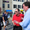 District 6th Democratic Candidate for Congress John Delaney, chats with Gaithersburg Mayor Sydney Katz, and former Montgomery County Executive Doug Duncan at the Kentlands Day Parade