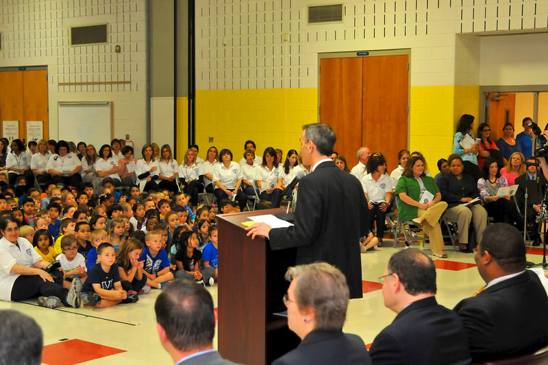 Dr. Chep address students, teachers and dignataries assembled to celebrate RCES' Blue Ribbon Award