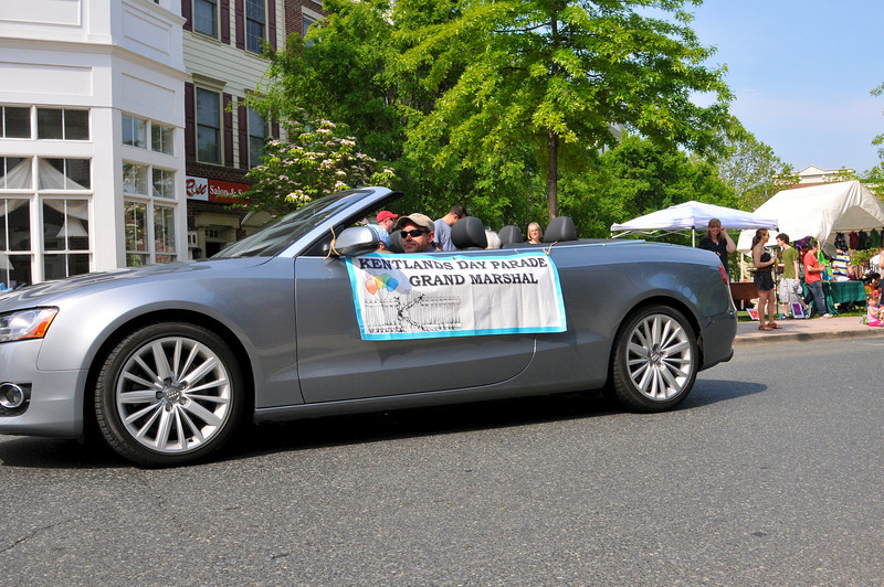 Kentlands Day Grand Marshal's were escorted in style on Main Street, seen here is escort-driver John Gresh