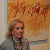 Audrey Salkind with here Finish Line II painting at the Art Barn