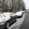Cars parked on a plowed Chestertown Street benefited by the City's pre-treatment efforts