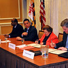 L to R Montgomery County Executive Ike Leggett, US Senator Barbara Mikulski (MD) and NIST Director Patrick Gallagher sign MOU on NCCOE