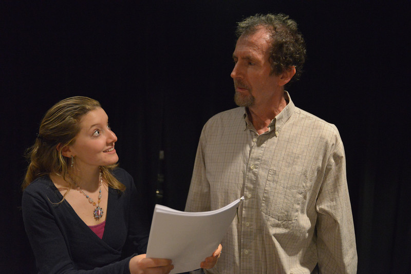 Blame it on Becket.  Actors Nick Sampson as Jim and Emily Sucher as Heidi make final readings before the play opening on January 3rd.