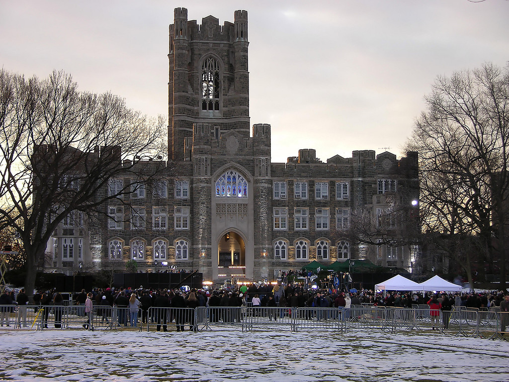 Here is the basic layout.  The magnificent building is Keating Hall, a depression era building that is the centerpiece of the Fordham College.  Graduation ceremonies are held here.  The steps are called the steps of the Presidents or the porch of the Presidents for all the ceremonies with US presients held there.