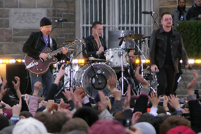 I'm not sure about this, but I think U2 has played in the Bronx twice (Yankee Stadium, 1992) and I was there both times.  Does this get me in the Guinness Book of Records?  Does it at least get me a Guinness?