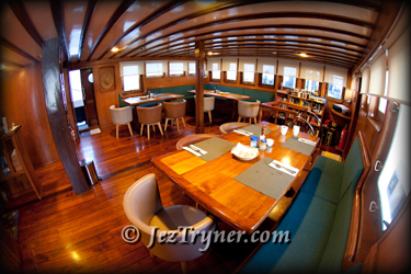 The dining saloon, Msy Seahorse, Raja Ampat, Indonesia, Indian ocean, Asia