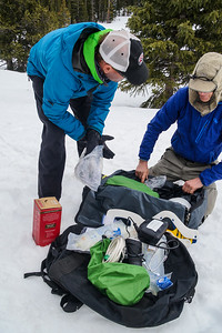 Transfering gear at Geo's Bonfire for shuttling up to the Pass and Friend's Hut.