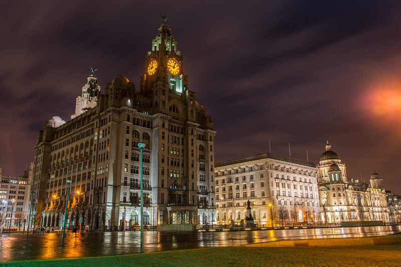 Three Graces, Liverpool at night - Royal Liver Building, Cunard Building and Port of Liverpool Building