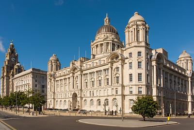 Three Graces, Liverpool - Royal Liver Building, Cunard Building and Port of Liverpool Building