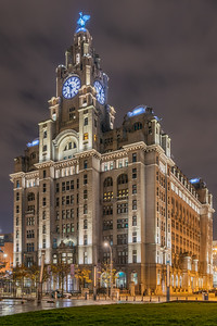 Royal Liver Building, Pier Head, Liverpool at night