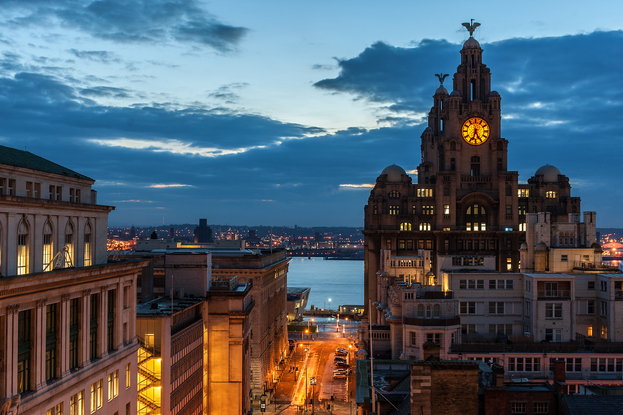 Liver Building and River Mersey at Night, Liverpool